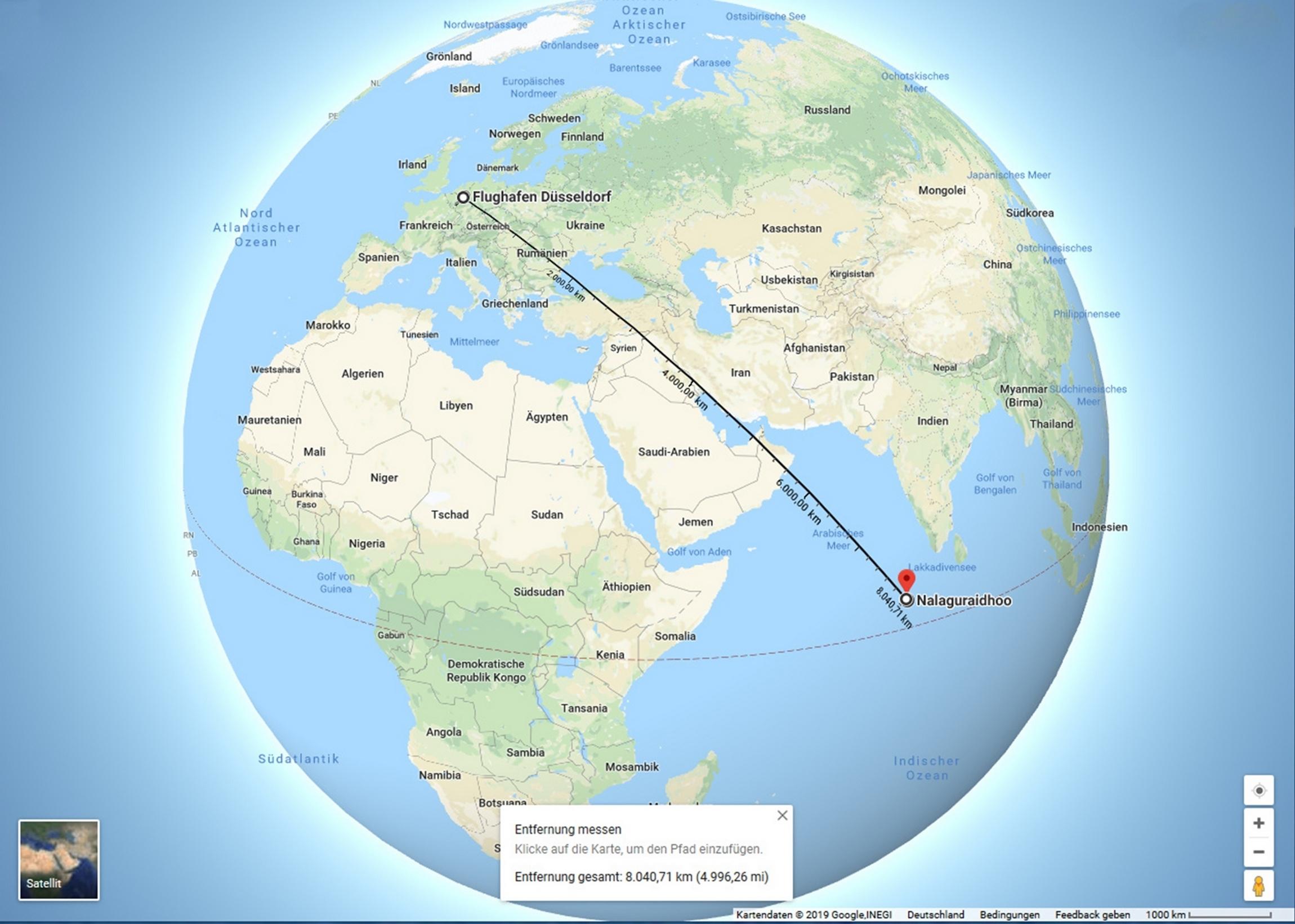 Entfernung Deutschland - Malediven